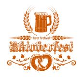 Oktoberfest logotype design. Oktoberfest logotype. Bavarian beer festival Oktoberfest design. Pretzel and mug of beer. Vector illustration Stock Photography