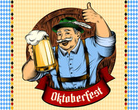 Oktoberfest Man Beer Glass Holiday Germany Thumb Ink Color Royalty Free Stock Image