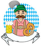 Oktoberfest man with beer,  pretzel and banner Stock Photos