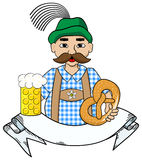 Oktoberfest man with beer,  pretzel and banner Stock Image