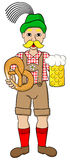 Oktoberfest man with beer and pretzel Royalty Free Stock Photo