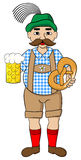 Oktoberfest man with beer and pretzel Royalty Free Stock Images