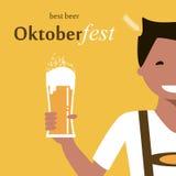 Oktoberfest man med öl stock illustrationer