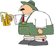 Oktoberfest Man With A Mug Of Beer. This illustration depicts a man dressed in lederhosen holding out a large mug of beer Royalty Free Stock Photos
