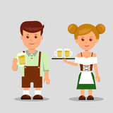 Oktoberfest. Man and a woman holding a beer. Stock Image