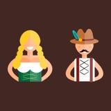 Oktoberfest man and woman vector illustration. Royalty Free Stock Image