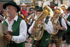 Oktoberfest Marching Band with Costumes and Horns Royalty Free Stock Photos