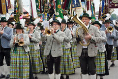 Oktoberfest Marching Band with Instruments Stock Photos