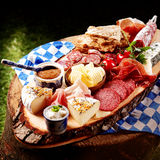 Oktoberfest Meat and cheese platter with bread Royalty Free Stock Images
