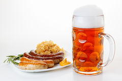 Oktoberfest menu, beer mug, a plate of sausages and sauerkraut Royalty Free Stock Photo
