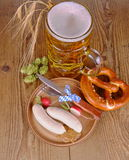 Oktoberfest menu - beer, white sausage, pretzel, radish, HDR Royalty Free Stock Photo