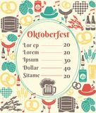 Oktoberfest menu template. With an oval frame enclosing a price list surrounded by icons of German beer in bottles  can  tankard  glass  keg or cask  barrel Royalty Free Stock Photo