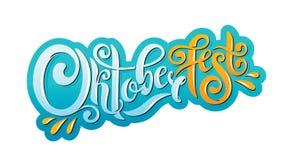 Oktoberfest met de hand geschreven van letters voorziende kopbal De titel vectorontwerp van de Oktoberfesttypografie stock illustratie
