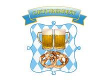 Oktoberfest a Monaco di Baviera, birra, ciambelline salate ed i colori della Baviera immagine stock libera da diritti