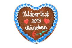 Oktoberfest Muenchen 2018 Gingerbread heart engl. October festi. Val Munich with white isolated background Germany royalty free stock image