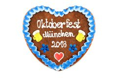 Oktoberfest Muenchen 2018 Gingerbread heart engl. October festi. Val Munich with white isolated background Germany stock photo