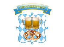 Oktoberfest in Munich, beer, pretzels and bavaria colors. Symbolic representation of Oktoberfest, famous beer festival in Munich:  Bavaria colors and pattern Royalty Free Stock Image