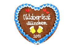 Oktoberfest Munich 2018 Gingerbread heart at white isolated back. Ground royalty free stock images