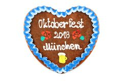 Oktoberfest Munich 2018 Gingerbread heart at white isolated back. Ground stock image