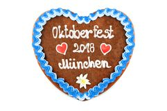 Oktoberfest Munich 2018 Gingerbread heart at white isolated back. Ground stock images
