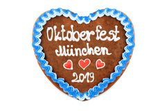 Oktoberfest Munich 2019 Gingerbread heart with white isolated background. Oktoberfest 2019 Gingerbread heart with white isolated background. October festival is royalty free stock images