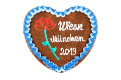 Oktoberfest Munich 2019 Gingerbread heart with white isolated background. Oktoberfest 2019 Gingerbread heart with white isolated background. October festival is stock photography
