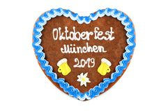 Oktoberfest Munich 2019 Gingerbread heart with white isolated background. October festival is a seasonal beer event in Munich Germany. Traditional heart cakes stock images