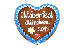 Oktoberfest Munich 2019 Gingerbread heart with white isolated background. Oktoberfest 2019 Gingerbread heart with white isolated background. October festival is royalty free stock photos