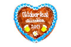Oktoberfest Munich 2019 Gingerbread heart with white isolated background. October festival is a seasonal beer event in Munich Germany. Traditional heart cakes royalty free stock images