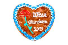 Oktoberfest Munich 2019 Gingerbread heart with white isolated background. Oktoberfest 2019 Gingerbread heart with white isolated background. October festival is royalty free stock photography