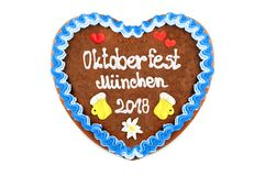 Oktoberfest 2018 Gingerbread heart with white isolated backgroun Stock Image