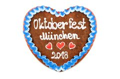 Oktoberfest 2018 Gingerbread heart with white isolated backgroun Royalty Free Stock Images