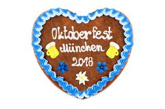 Oktoberfest Munich 2018 Gingerbread heart at white isolated back. Ground royalty free stock photos