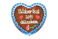 Oktoberfest Munich 2018 Gingerbread heart at white isolated back. Ground stock photos