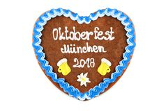 Oktoberfest Munich 2018 Gingerbread heart at white isolated back. Ground royalty free stock photo