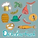 Oktoberfest National German Festival. Sticker of a beer , sausage , pretzel, pork ham, fish, hops, barley, barrel, hat. Oktoberfest National German Festival Royalty Free Stock Image