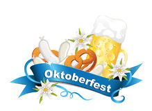 Oktoberfest, October party background with banderole, edelweiss, beer, veal sausage and pretzel Stock Image