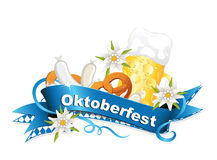 Oktoberfest, October party background with banderole, edelweiss, beer, veal sausage and pretzel Royalty Free Stock Photo