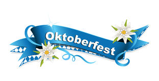 Oktoberfest, October party banderole with edelweiss and rhomb Stock Photography