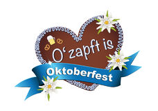 Oktoberfest, October party gingerbread heart with banderole  O' zapft is, Stock Images