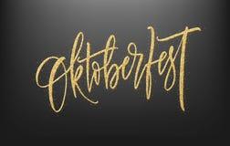 Oktoberfest op Duitse Van letters voorziende achtergrond De decoratiebanner van het bierfestival Vector illustratie Royalty-vrije Stock Afbeeldingen