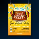 Oktoberfest Party Flyer Design with Typography Lettering on Vintage Wood Board. Vector Traditional German Beer Festival stock illustration
