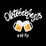 Oktoberfest party hand written lettering poster with beer mugs. Royalty Free Stock Photos