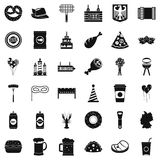 Oktoberfest party icons set, simple style Royalty Free Stock Images