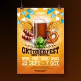 Oktoberfest party poster illustration with fresh dark beer, pretzel, sausage and blue and white party flag on shiny stock illustration
