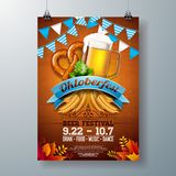 Oktoberfest party poster illustration with fresh lager beer, pretzel, sausage and blue and white party flag on shiny stock illustration