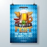 Oktoberfest party poster illustration with fresh lager beer, pretzel, sausage and wheat on blue and white Bavaria flag vector illustration