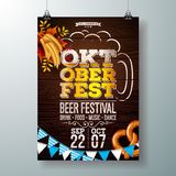 Oktoberfest party poster vector illustration with fresh beer in typography letter, pretzel, wheat, Bavaria flag and stock illustration