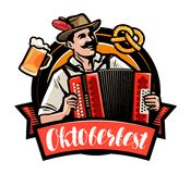 Oktoberfest, piwny festiwal Szczęśliwy mężczyzna bawić się akordeon obcy kreskówki kota ucieczek ilustraci dachu wektor Obraz Royalty Free