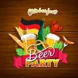 Oktoberfest poster or banner design with beer mugs, sausage, for. K, pretzel, hops, wheat grain, crab and German flag on shiny brown wooden background for Beer stock illustration